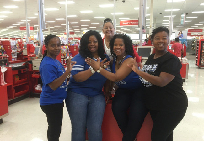 Left to right: Soror Dee Nembhard Thomas, Soror Cheryl Evette Oliver, Soror Melinda Reed and Soror Rukiya Michele